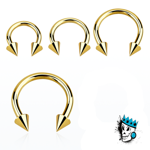 Gold Steel circular barbells w/ spikes