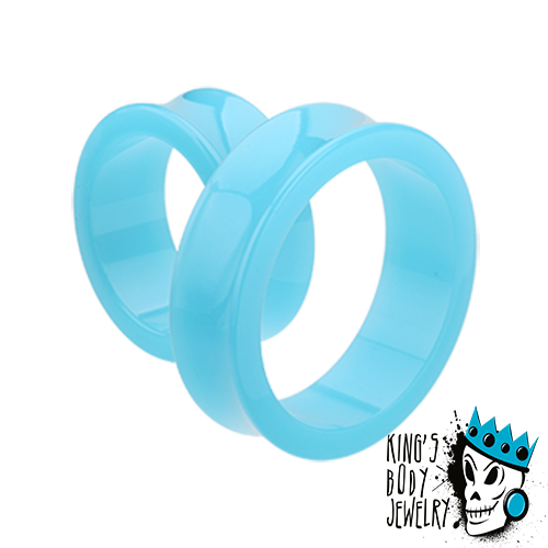 Light Blue Acrylic Double Flare Tunnels