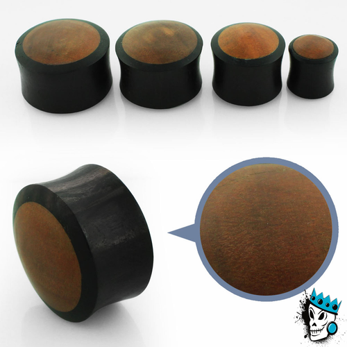 Black Areng with Teak Inlay Wood Plugs