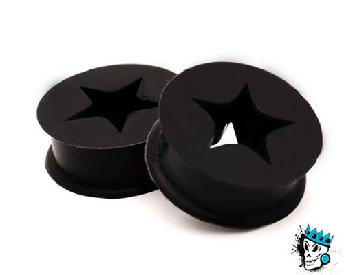 Black Silicone Tunnels with Star Cut Out