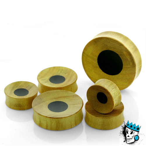 Jackfruit Concave Plugs with Black Areng Inlay