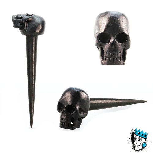 Black Areng Wood Skull Tapers