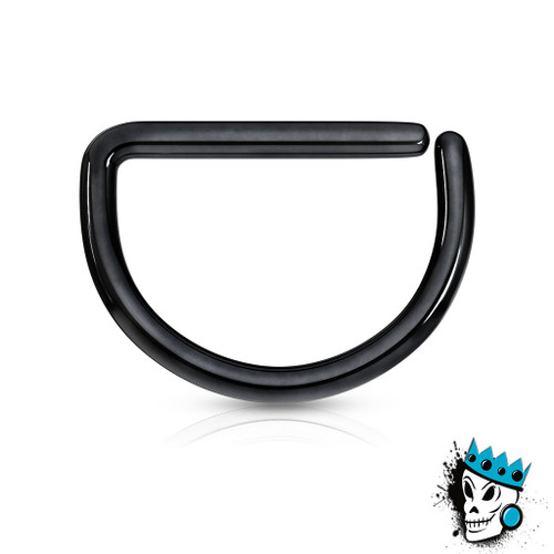 D Shaped Black Steel Seamless Segment Rings (20 g - 16 gauge)