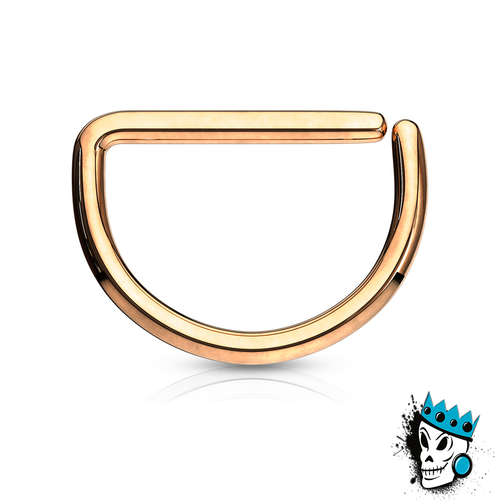 D Shaped Rose Gold Steel Seamless Segment Rings (20 g - 16 gauge)