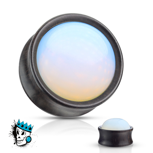 Ebony Wood with Opalite Inlay Plugs (2 gauge - 1 inch)
