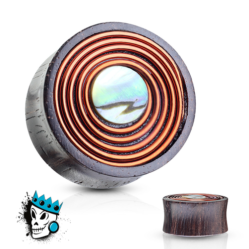 Sono Wood with Mother of Pearl and Copper Wire Coil Inlay Plugs (00 gauge - 1 inch)