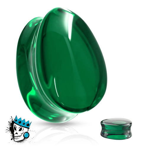 Green Tear Drop Double Flare Glass Plugs (0 gauge - 3/4 inch)
