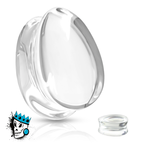 Clear Tear Drop Double Flare Glass Plugs (0 gauge - 3/4 inch)