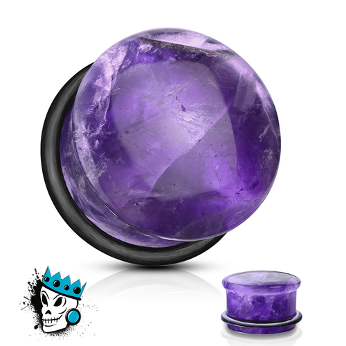Amethyst Single Flare Stone Plugs (6 gauge - 5/8 inch)