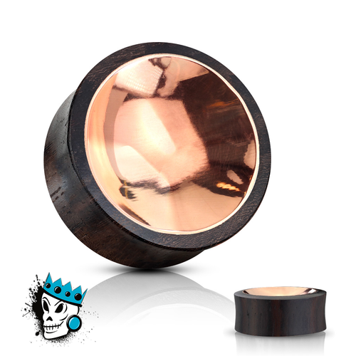 Sono Wood with Concave Copper Inlay Plugs (00g - 1 inch)