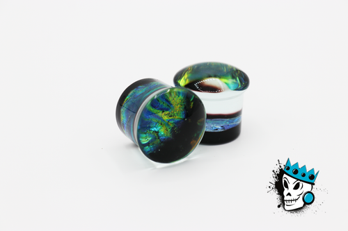 Blue and Green Dichroic Glass Plugs (2 gauge - 3/4 inch)