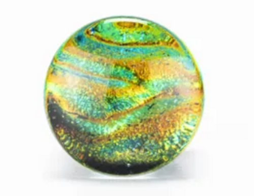 Blue and Green Dichroic Swirls Glass Plugs (2 gauge - 3/4 inch)