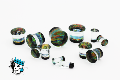 Multicolored Sparkle Glass Plugs (2 gauge - 3/4 inch)