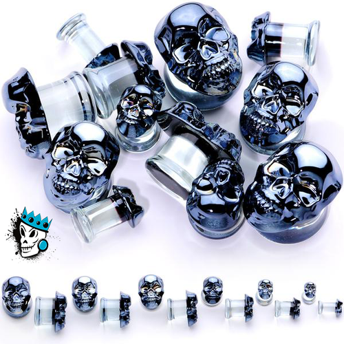 Black Metallic Skull Glass Plugs (2 gauge - 1 inch)