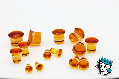 Honey Single Flare Glass Plugs (8 gauge - 1 inch)
