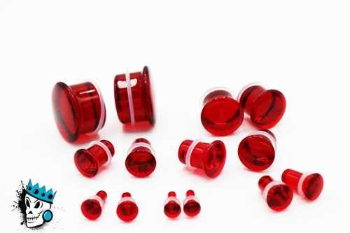 Red Single Flare Glass Plugs (8 gauge - 1 inch)