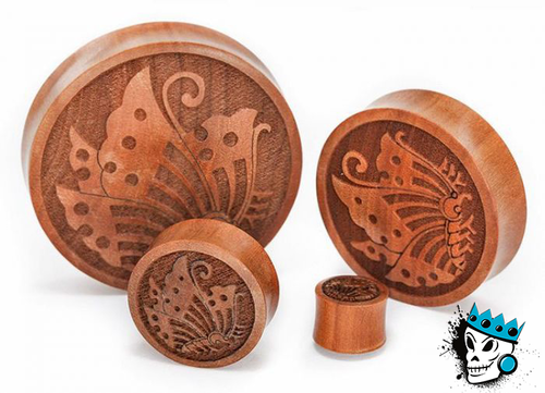 Butterfly Wood Plugs ( 12mm - 2 inch)