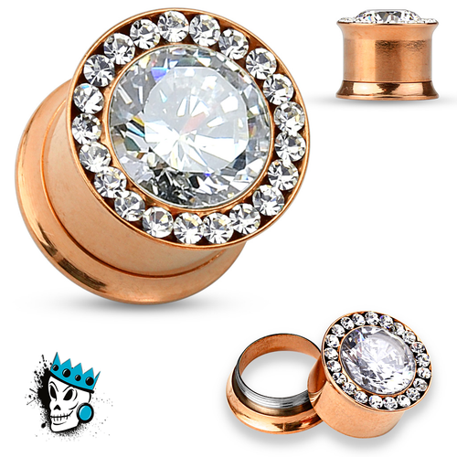 Rose Gold Internally Threaded Ultimate Bling Plugs (2 gauge - 12 mm)