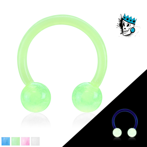 Acrylic Flexible Circular Barbells with Glow in the Dark Balls(16 gauge)
