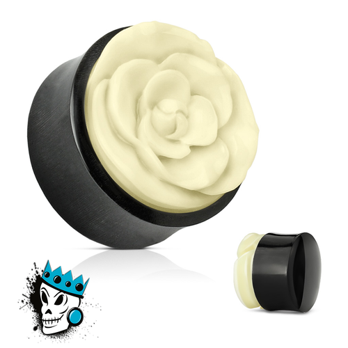 Buffalo Horn with Inlaid Bone Rose Plugs