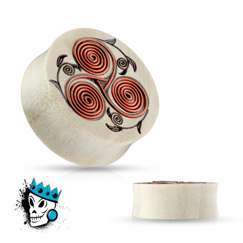 Crocodile Wood with Floral Copper Wire Coil Inlay Plugs