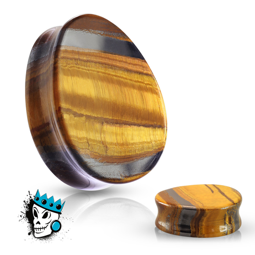 Tiger's Eye Teardrop Double Flare Stone Plugs (2 gauge - 1 inch)