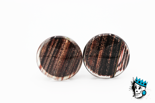 Black Glitter Single Flare Glass Plugs