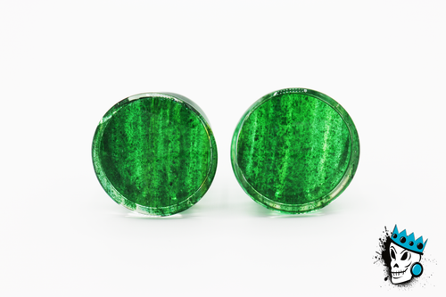 Green Glitter Single Flare Glass Plugs