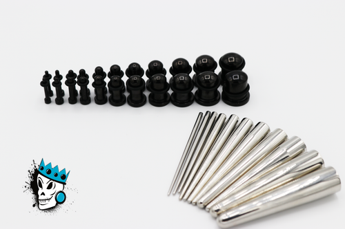 Black Single Flare Plugs & Concave Tapers Full Kit (14 gauge - 00 gauge)