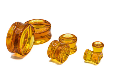 Honey Double Flare Concave Glass Plugs