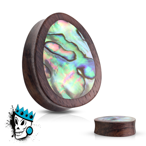 Sono Wood Oval Plugs with an Abalone Shell Inlay