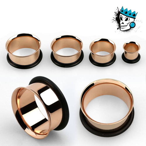 Rose Gold Single Flare Steel Tunnels