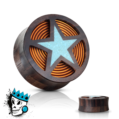 Sono Wood with Turquoise Star and Copper Inlay Plugs