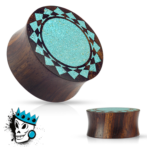 Sono Wood with Inlayed Turquoise Sunburst Plugs