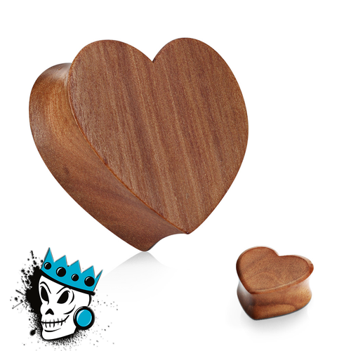 Red Cherry Wood Heart Plugs