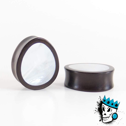Dark Raintree Wood Oval Plugs with Mother of Pearl Inlay