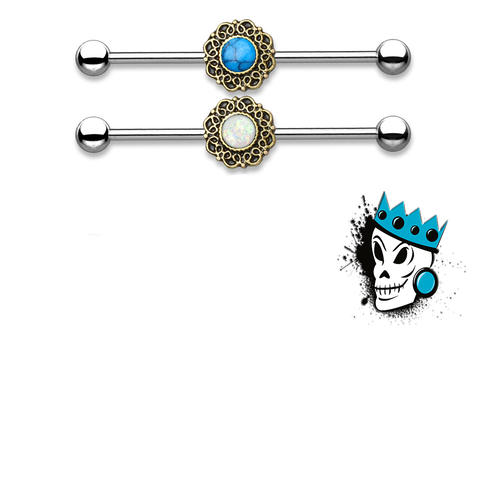 Filigree Industrial Barbell with Inlaid Stone