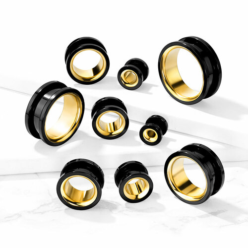Black Steel Tunnels with Gold Inlay
