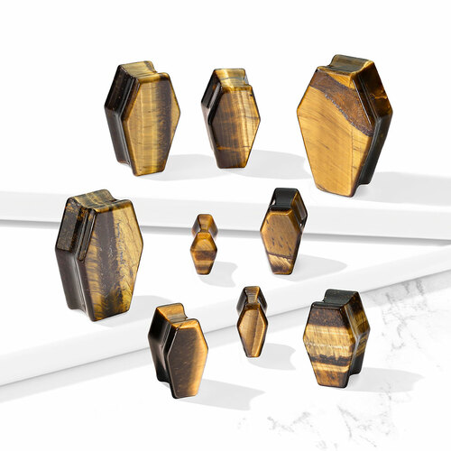 Coffin Tiger's Eye Double Flare Stone Plugs