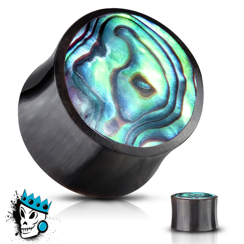 Buffalo Horn with Abalone Inlaid Plugs