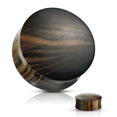 Ebony Striped Wood Convex Plugs
