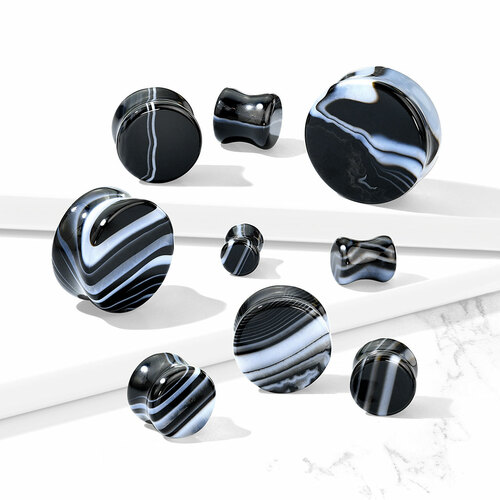 Black and White Agate Double Flare Stone Plugs