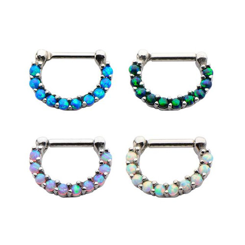 Jeweled Opal Septum Clicker (16 gauge - 14g)