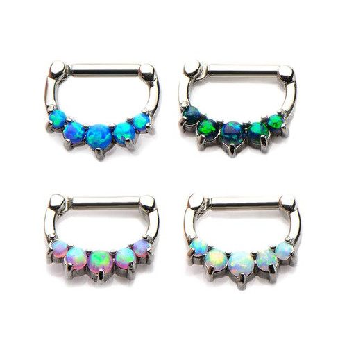 Opal Inlay Septum Clicker (16 gauge - 14g)