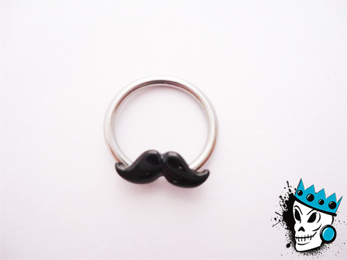 Mustache captive bead rings