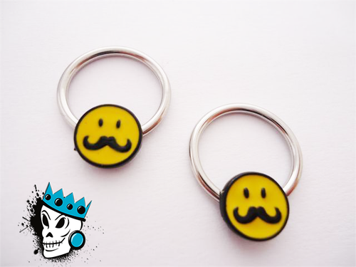 Smiley Mustache captive bead rings