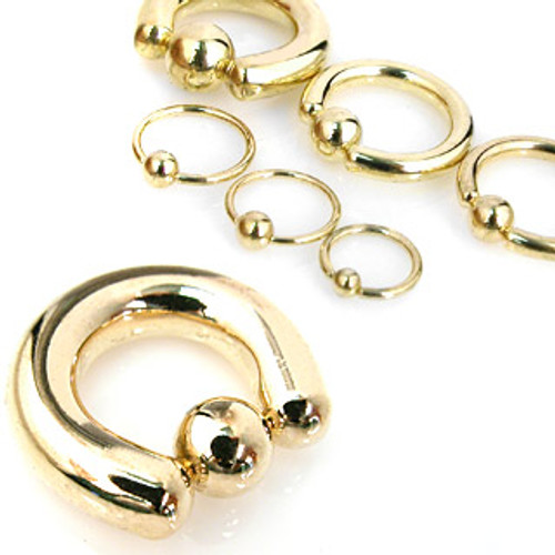 Gold Steel captive bead rings (18 gauge - 2g)