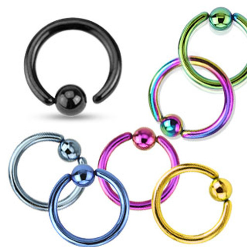 FIXED BALL Stainless Steel Captive Bead Rings, Annealed -- Various Colors (18g - 14 gauge)