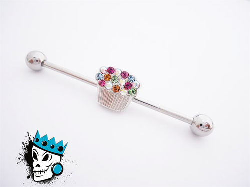 Bling Cupcake Industrial Barbell FITS ANY EAR