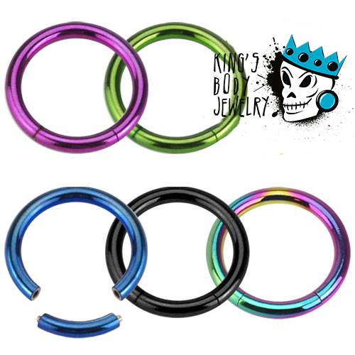 Anodized Steel Segment Rings - Various Colors (16 gauge- 14g)